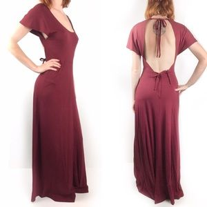 Vintage Young Edwardian 60s open back maxi dress